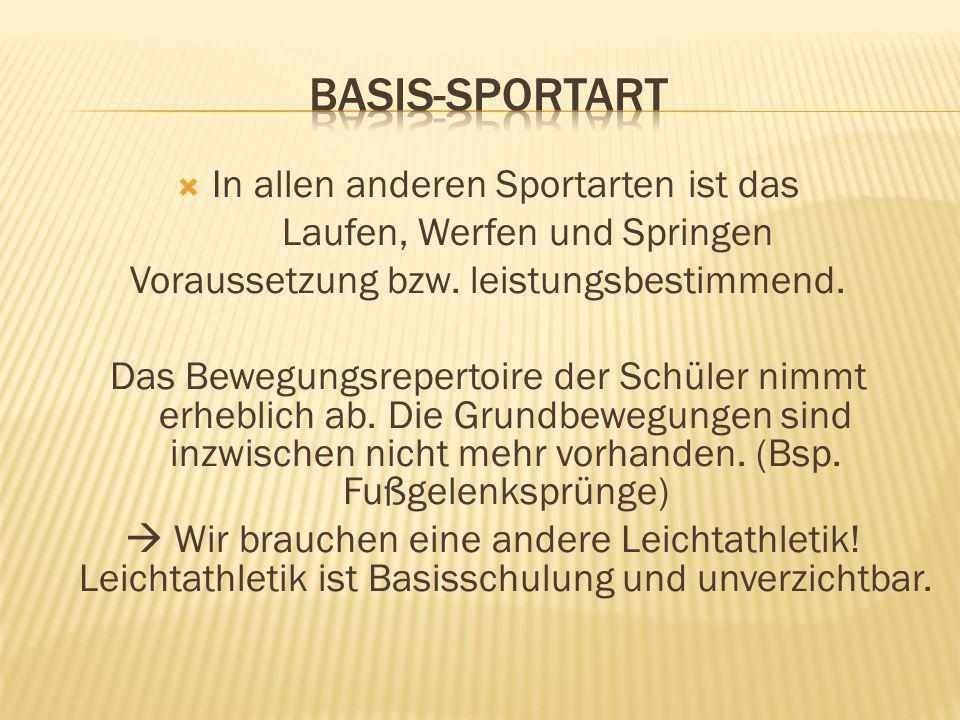 In allen anderen Sportarten ist das Laufen, Werfen und Springen Voraussetzung bzw. leistungsbestimmend. Das Bewegungsrepertoire der Schüler nimmt erhe