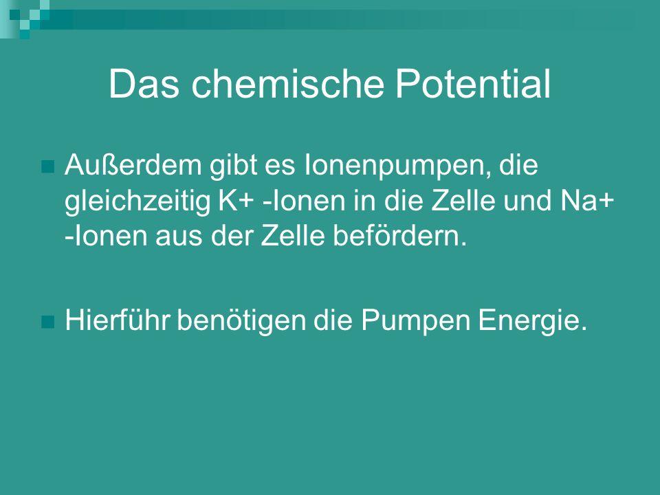 Das chemische Potential Außerdem gibt es Ionenpumpen, die gleichzeitig K+ -Ionen in die Zelle und Na+ -Ionen aus der Zelle befördern. Hierführ benötig