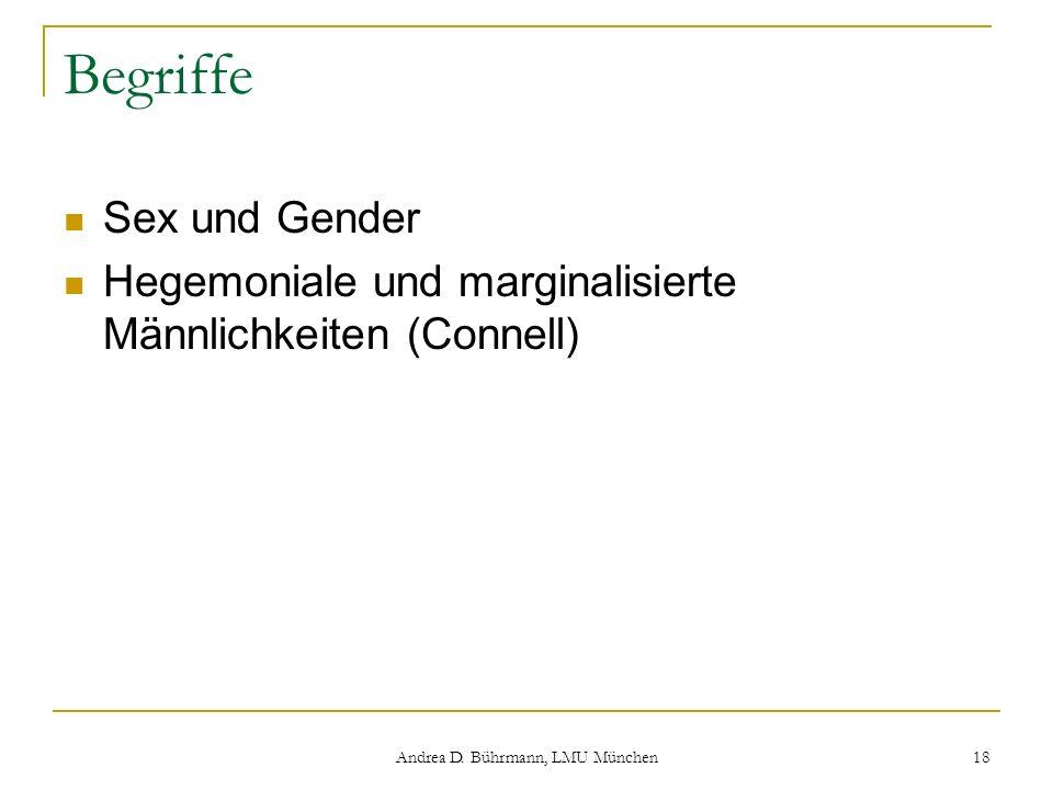 Andrea D. Bührmann, LMU München 18 Begriffe Sex und Gender Hegemoniale und marginalisierte Männlichkeiten (Connell)