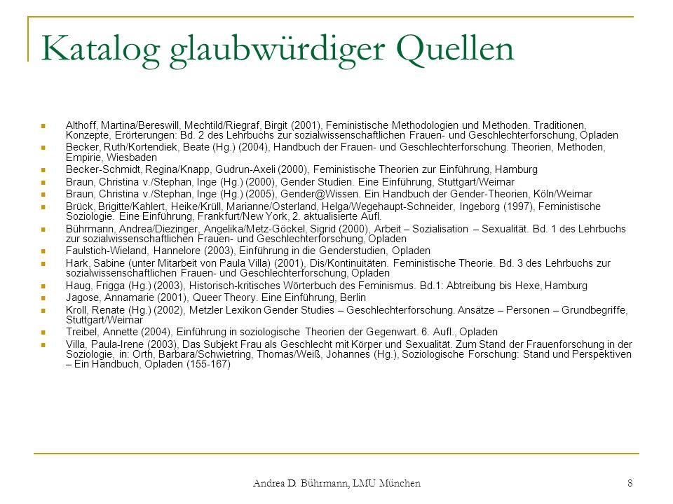 Andrea D. Bührmann, LMU München 8 Katalog glaubwürdiger Quellen Althoff, Martina/Bereswill, Mechtild/Riegraf, Birgit (2001), Feministische Methodologi