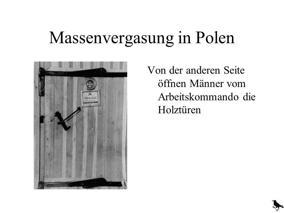 Massenvergasung in Polen Von der anderen Seite öffnen Männer vom Arbeitskommando die Holztüren