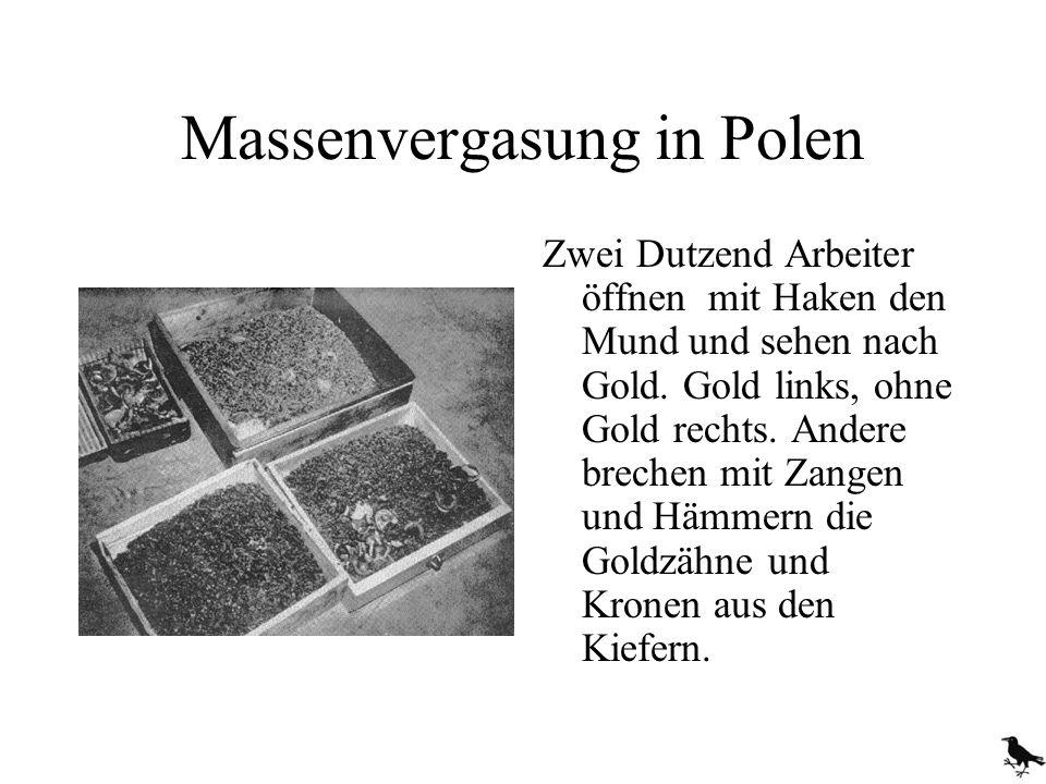 Massenvergasung in Polen Zwei Dutzend Arbeiter öffnen mit Haken den Mund und sehen nach Gold. Gold links, ohne Gold rechts. Andere brechen mit Zangen