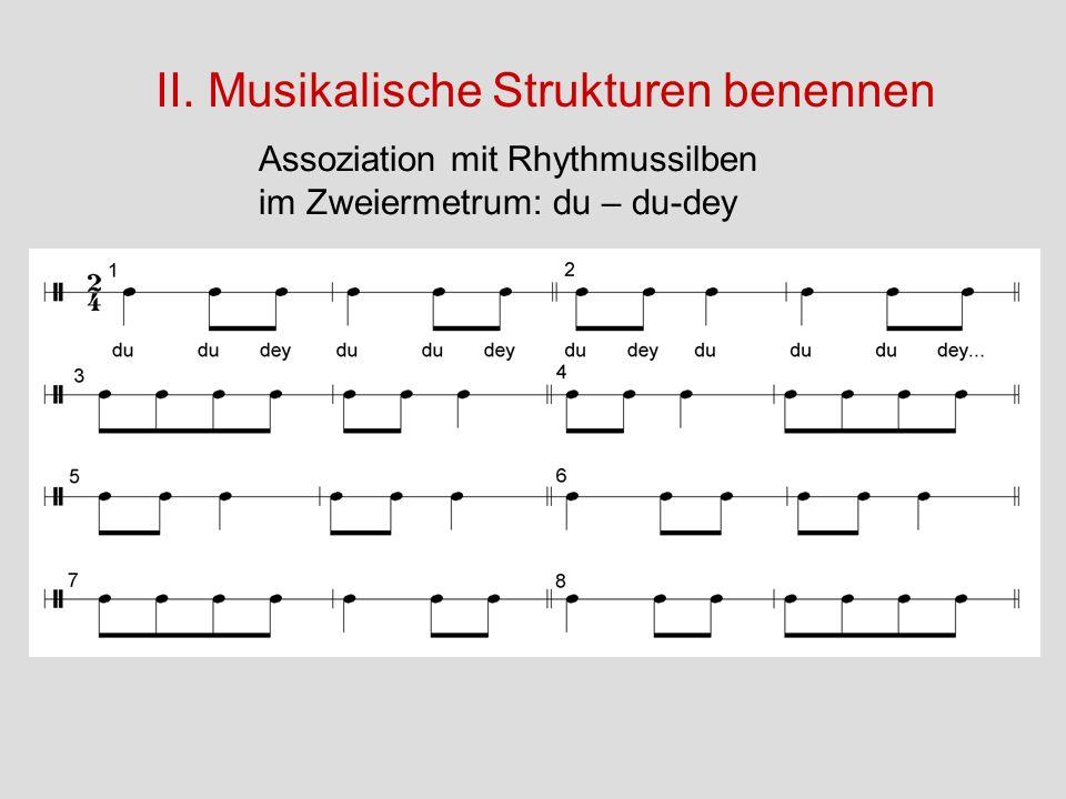 II. Musikalische Strukturen benennen Assoziation mit Rhythmussilben im Zweiermetrum: du – du-dey