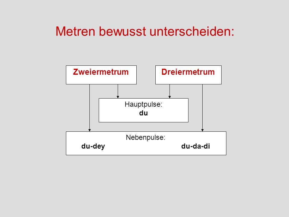 ZweiermetrumDreiermetrum Hauptpulse: du Nebenpulse: du-dey du-da-di Metren bewusst unterscheiden: