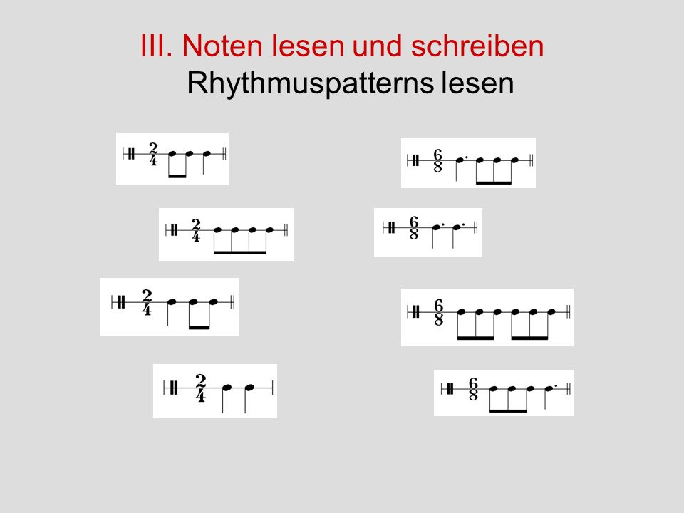III. Noten lesen und schreiben Rhythmuspatterns lesen