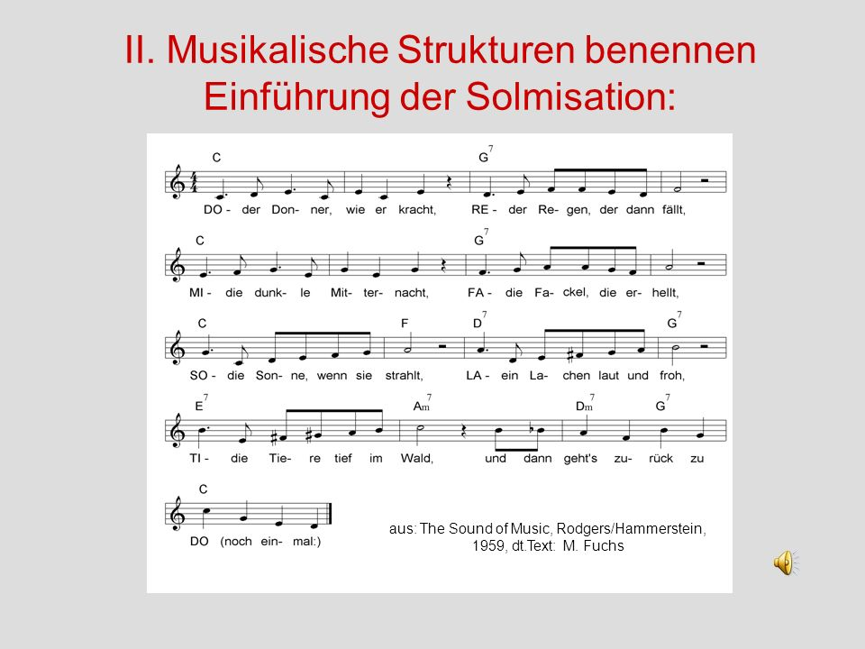 II. Musikalische Strukturen benennen Einführung der Solmisation: aus: The Sound of Music, Rodgers/Hammerstein, 1959, dt.Text: M. Fuchs