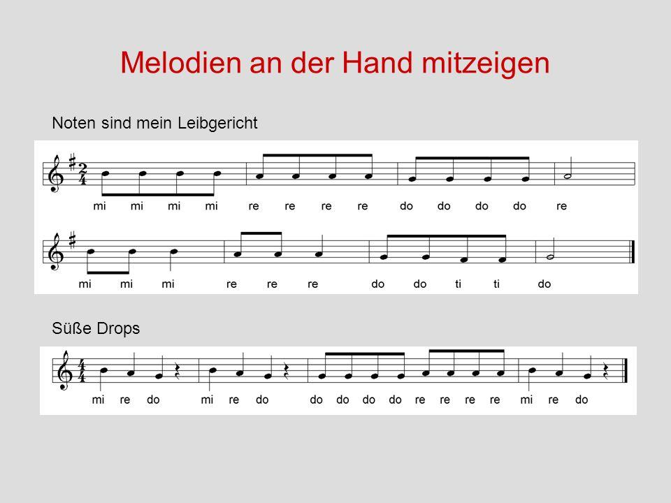 Melodien an der Hand mitzeigen Süße Drops Noten sind mein Leibgericht