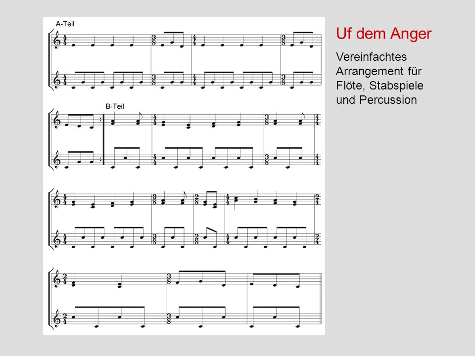 Uf dem Anger Vereinfachtes Arrangement für Flöte, Stabspiele und Percussion
