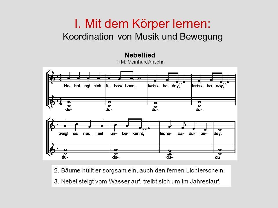 I. Mit dem Körper lernen: Koordination von Musik und Bewegung Nebellied T+M: Meinhard Ansohn 2. Bäume hüllt er sorgsam ein, auch den fernen Lichtersch