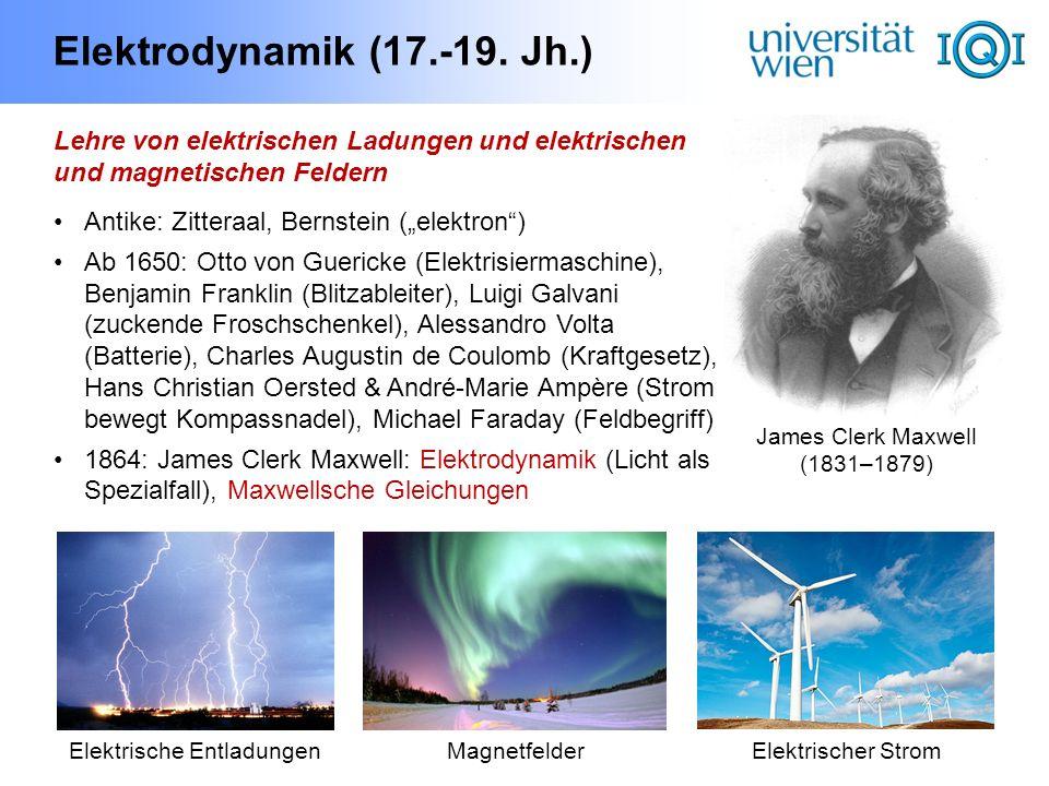 Elektrodynamik (17.-19. Jh.) Lehre von elektrischen Ladungen und elektrischen und magnetischen Feldern Antike: Zitteraal, Bernstein (elektron) Ab 1650