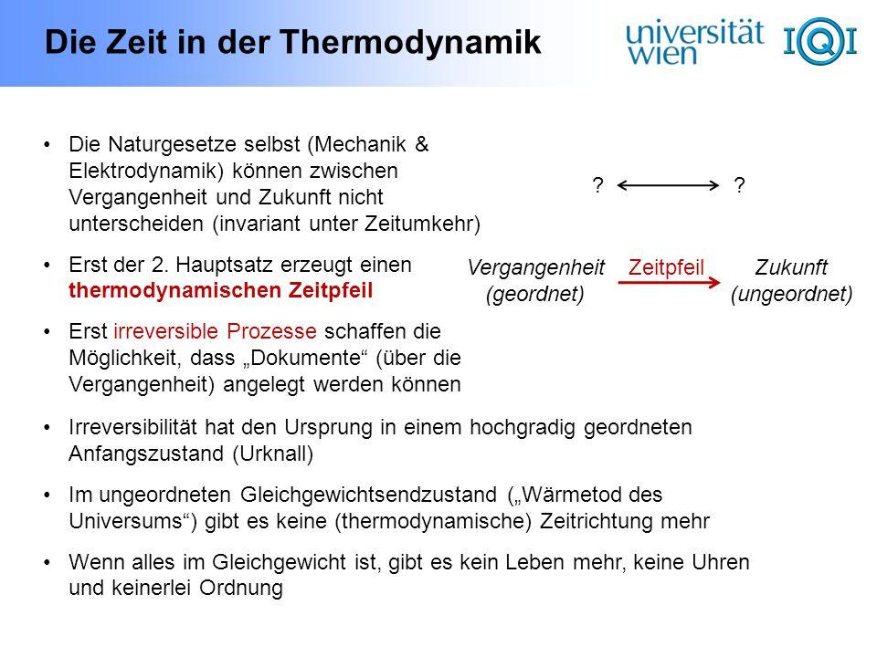 Die Zeit in der Thermodynamik Die Naturgesetze selbst (Mechanik & Elektrodynamik) können zwischen Vergangenheit und Zukunft nicht unterscheiden (invar