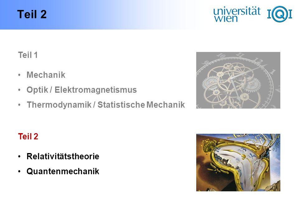 Teil 2 Teil 1 Mechanik Optik / Elektromagnetismus Thermodynamik / Statistische Mechanik Teil 2 Relativitätstheorie Quantenmechanik