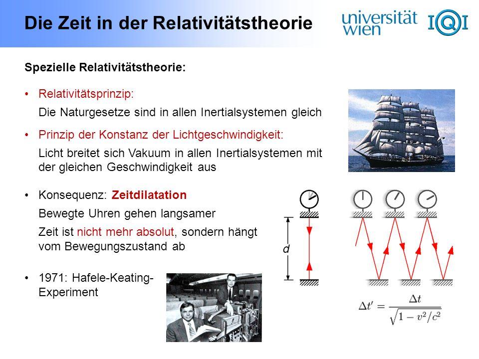 Die Zeit in der Relativitätstheorie Spezielle Relativitätstheorie: Relativitätsprinzip: Die Naturgesetze sind in allen Inertialsystemen gleich Prinzip