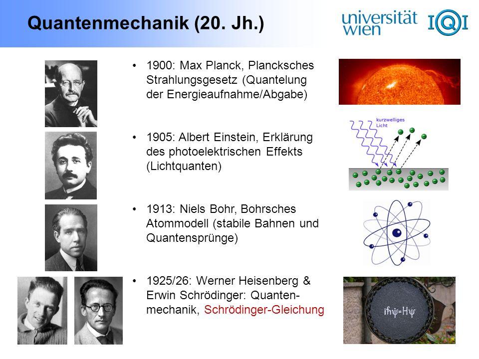 Quantenmechanik (20. Jh.) 1900: Max Planck, Plancksches Strahlungsgesetz (Quantelung der Energieaufnahme/Abgabe) 1905: Albert Einstein, Erklärung des