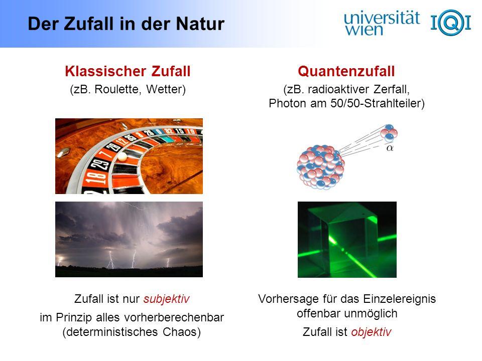 Der Zufall in der Natur Klassischer Zufall (zB. Roulette, Wetter) Quantenzufall (zB. radioaktiver Zerfall, Photon am 50/50-Strahlteiler) Zufall ist nu