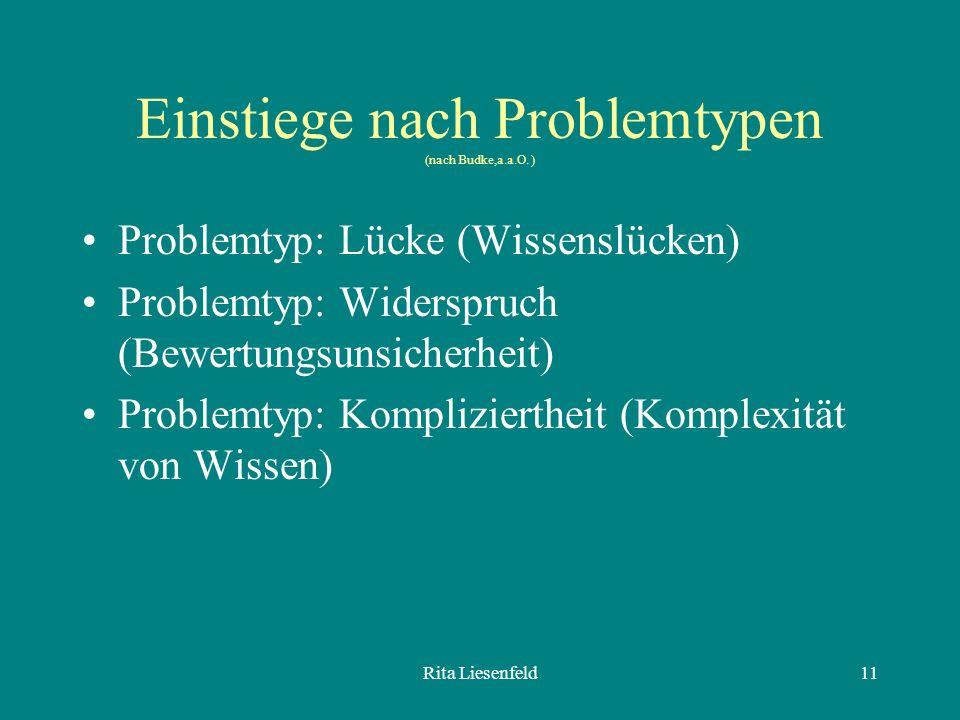 Rita Liesenfeld11 Einstiege nach Problemtypen (nach Budke,a.a.O.