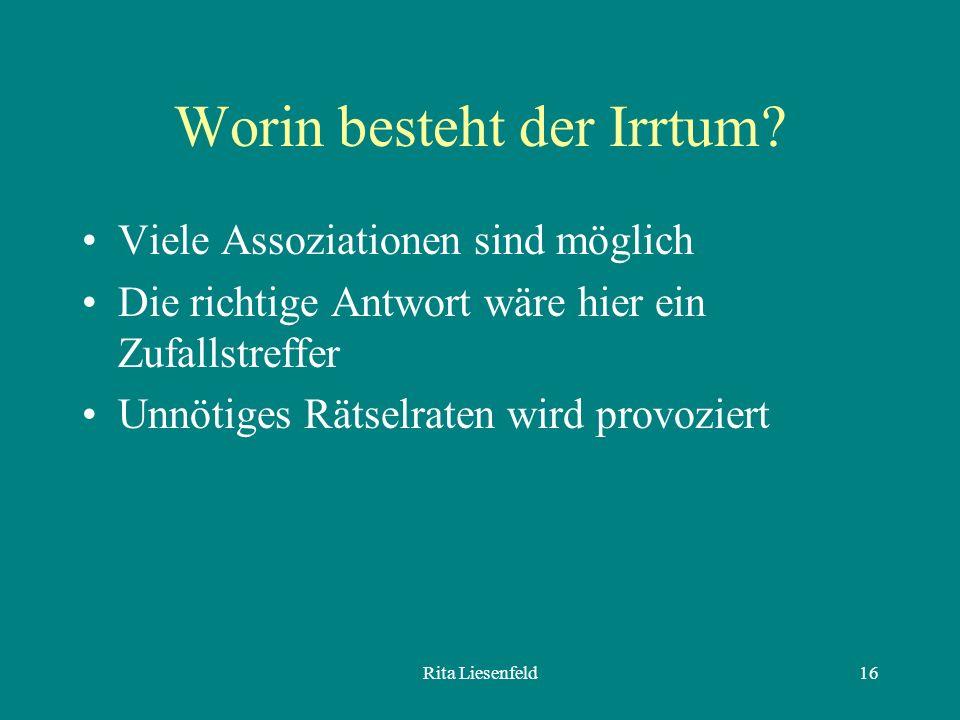 Rita Liesenfeld16 Worin besteht der Irrtum.
