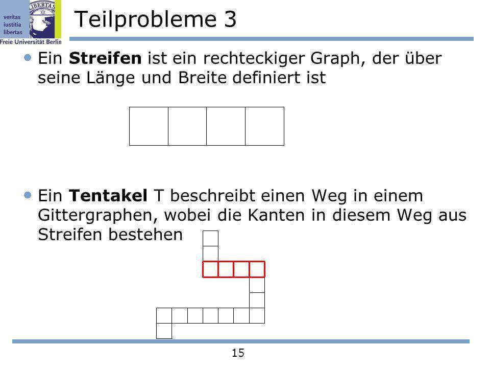 15 Teilprobleme 3 Ein Streifen ist ein rechteckiger Graph, der über seine Länge und Breite definiert ist Ein Tentakel T beschreibt einen Weg in einem