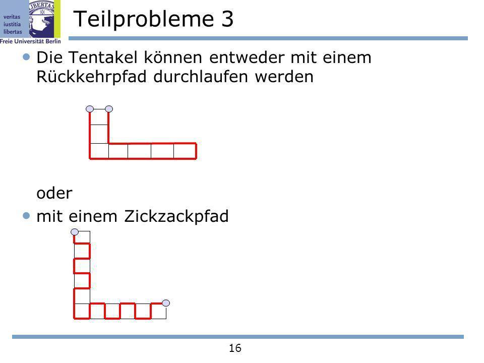 16 Teilprobleme 3 Die Tentakel können entweder mit einem Rückkehrpfad durchlaufen werden oder mit einem Zickzackpfad