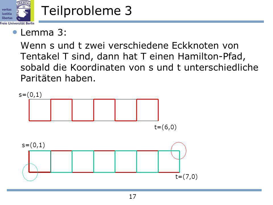 17 Teilprobleme 3 Lemma 3: Wenn s und t zwei verschiedene Eckknoten von Tentakel T sind, dann hat T einen Hamilton-Pfad, sobald die Koordinaten von s