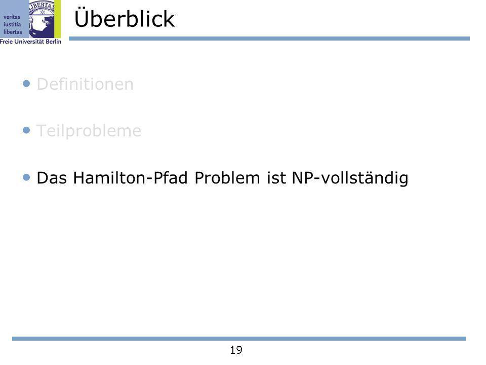 19 Überblick Definitionen Teilprobleme Das Hamilton-Pfad Problem ist NP-vollständig