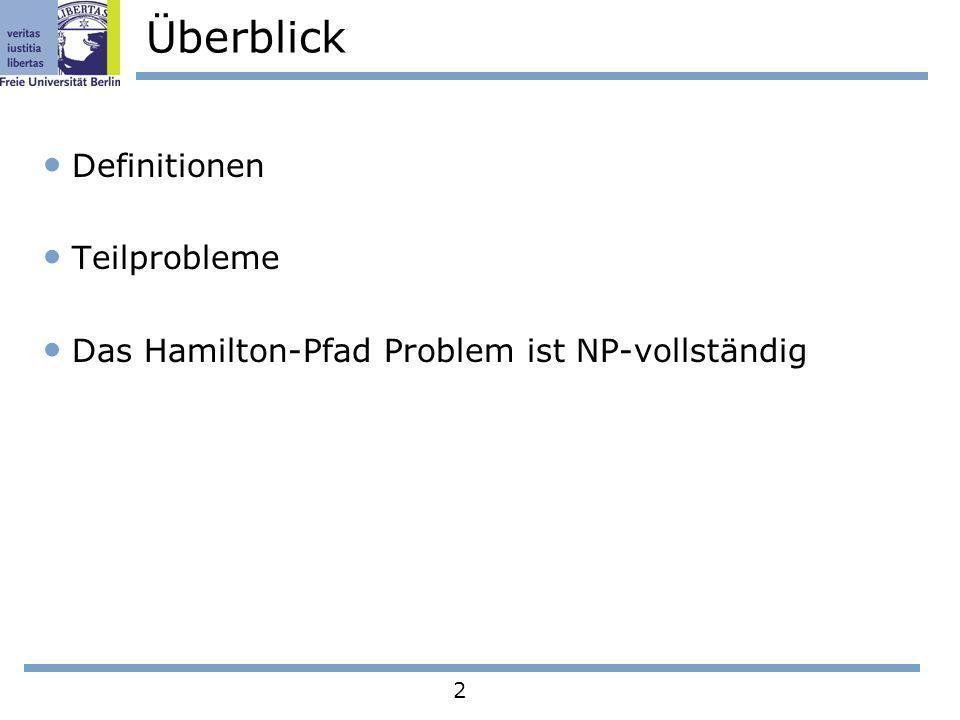 13 Teilprobleme 2 Aus jedem Knoten von B wird ein 9–Cluster erstellt Lemma 2: Jedes 9–Cluster hat einen Hamilton-Pfad, für alle 1i<j4 von p i nach p j, der die Kanten (e 1, e 2, e 3, e 4 ) enthält Es gibt endlich viele Möglichkeiten e1e1 e2e2 e3e3 e4e4 p1p1 p2p2 p3p3 p4p4 s t