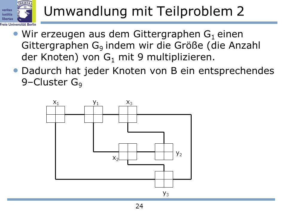 24 Umwandlung mit Teilproblem 2 Wir erzeugen aus dem Gittergraphen G 1 einen Gittergraphen G 9 indem wir die Größe (die Anzahl der Knoten) von G 1 mit
