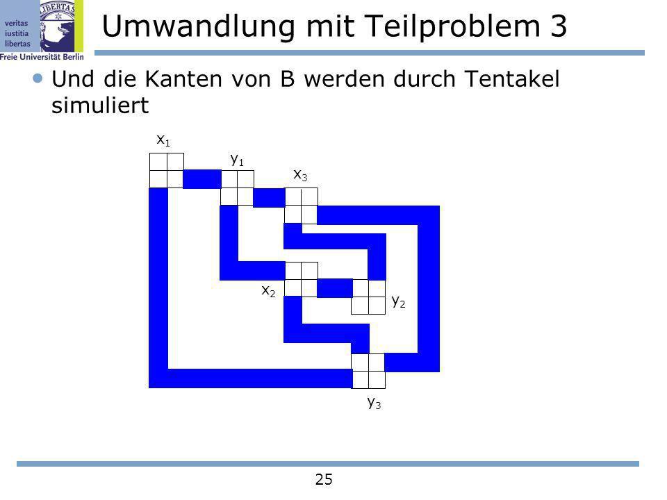 25 Umwandlung mit Teilproblem 3 Und die Kanten von B werden durch Tentakel simuliert x1x1 y1y1 x3x3 x2x2 y2y2 y3y3