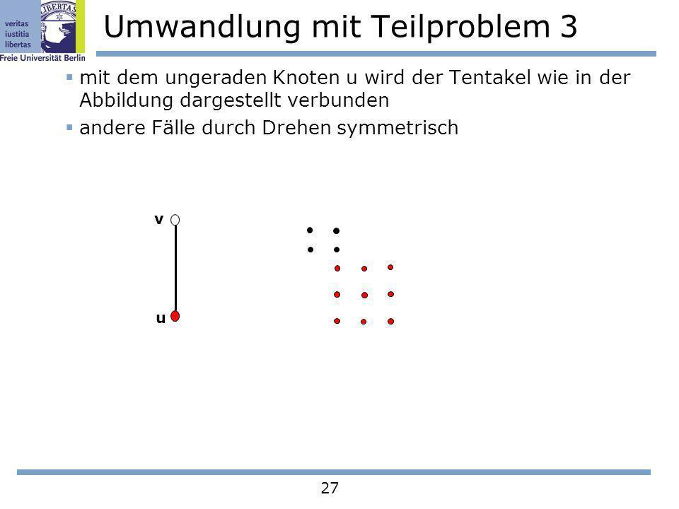 27 Umwandlung mit Teilproblem 3 mit dem ungeraden Knoten u wird der Tentakel wie in der Abbildung dargestellt verbunden andere Fälle durch Drehen symm