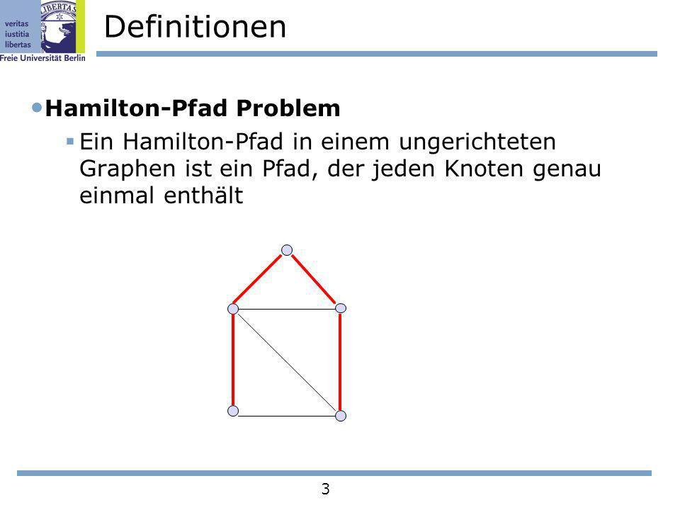 3 Definitionen Hamilton-Pfad Problem Ein Hamilton-Pfad in einem ungerichteten Graphen ist ein Pfad, der jeden Knoten genau einmal enthält