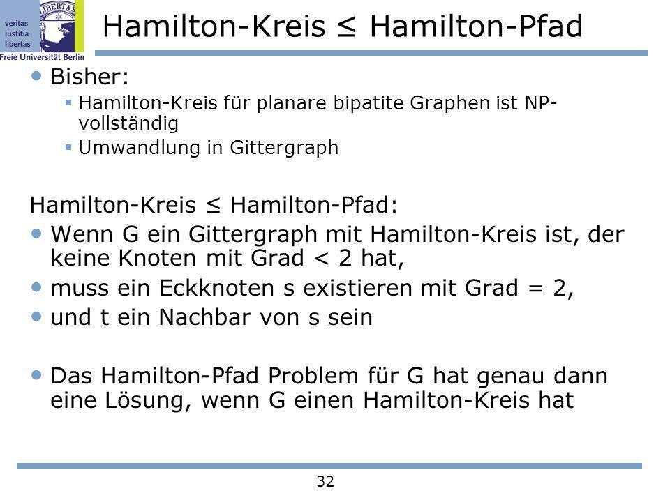 32 Hamilton-Kreis Hamilton-Pfad Bisher: Hamilton-Kreis für planare bipatite Graphen ist NP- vollständig Umwandlung in Gittergraph Hamilton-Kreis Hamil