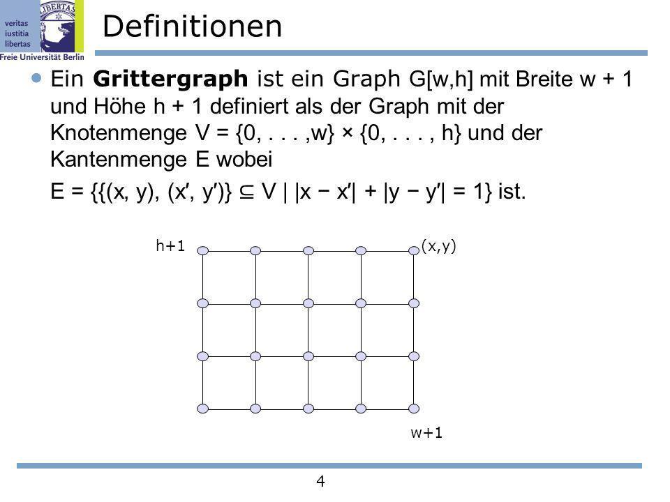 4 Definitionen Ein Grittergraph ist ein Graph G[w,h] mit Breite w + 1 und Höhe h + 1 definiert als der Graph mit der Knotenmenge V = {0,...,w} × {0,..