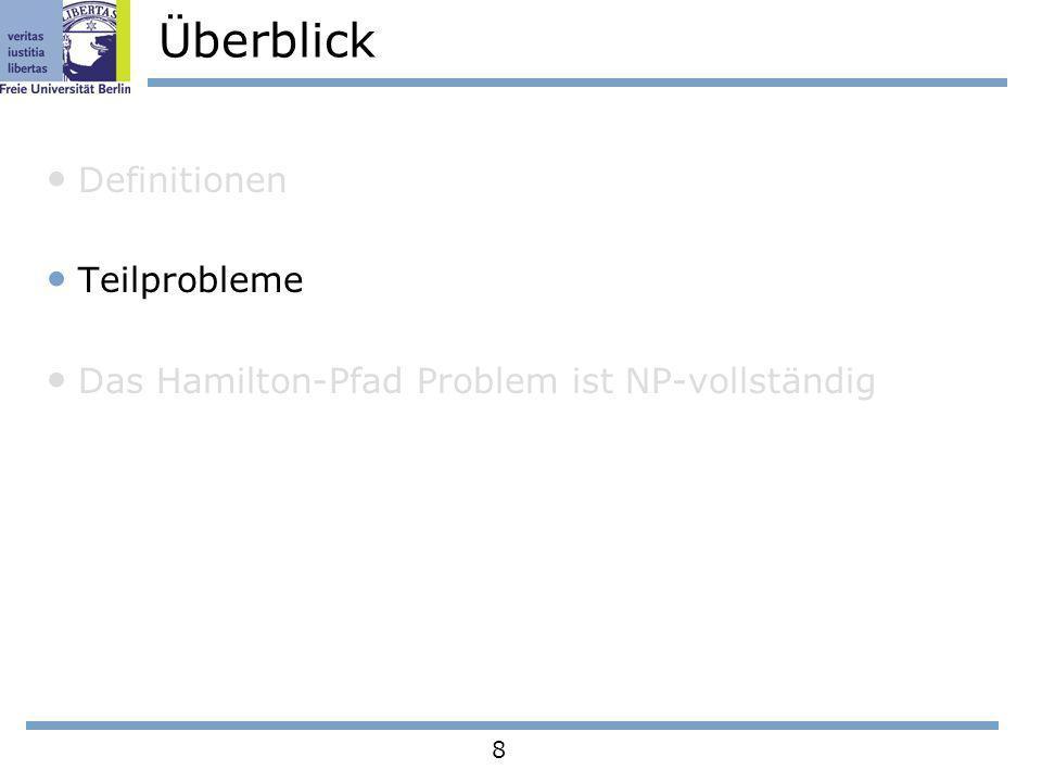 8 Überblick Definitionen Teilprobleme Das Hamilton-Pfad Problem ist NP-vollständig