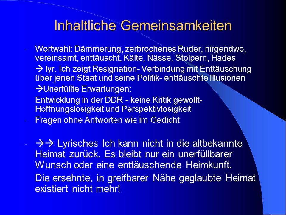 Heimkunft (Günter Kunert, 1970) Was für ein Land ist das das wie nirgendwo ist besonders in den nächtlichen Grotten vereinsamter Bahnhöfe. Viel zu wen
