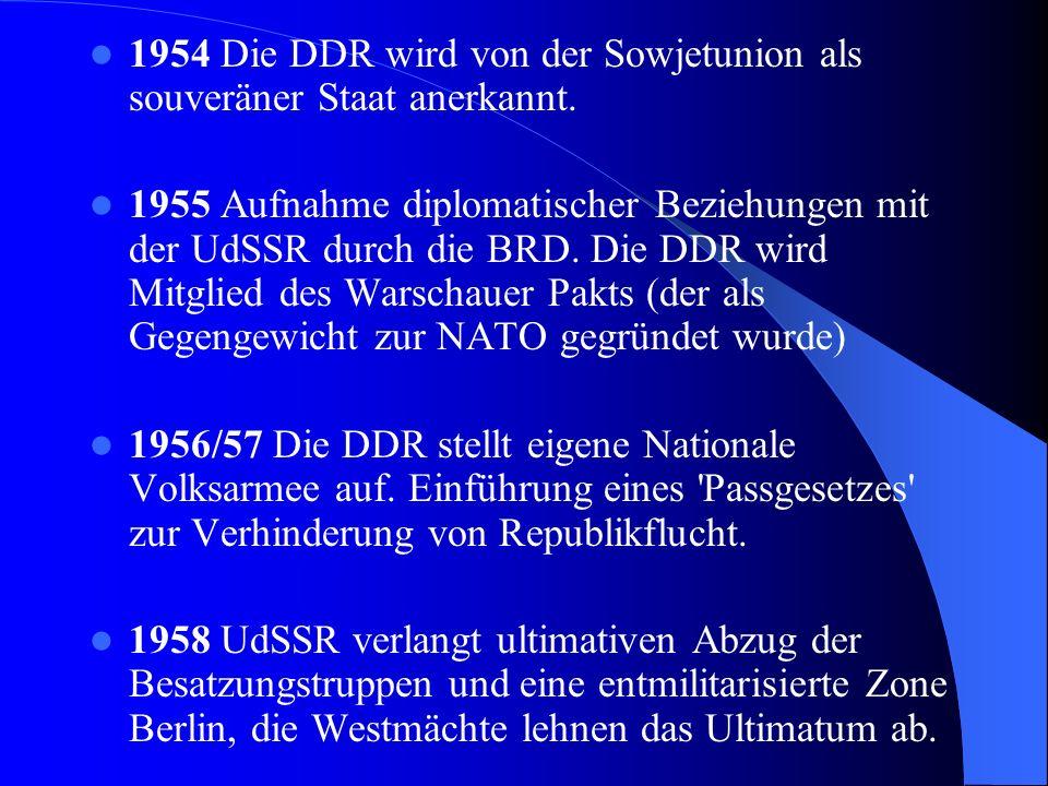 1948Geplante Währungsreform für Deutschland wird von der UdSSR abgelehnt und nur in den drei Westzonen durchgeführt. In der Ostzone wird eine eigene R