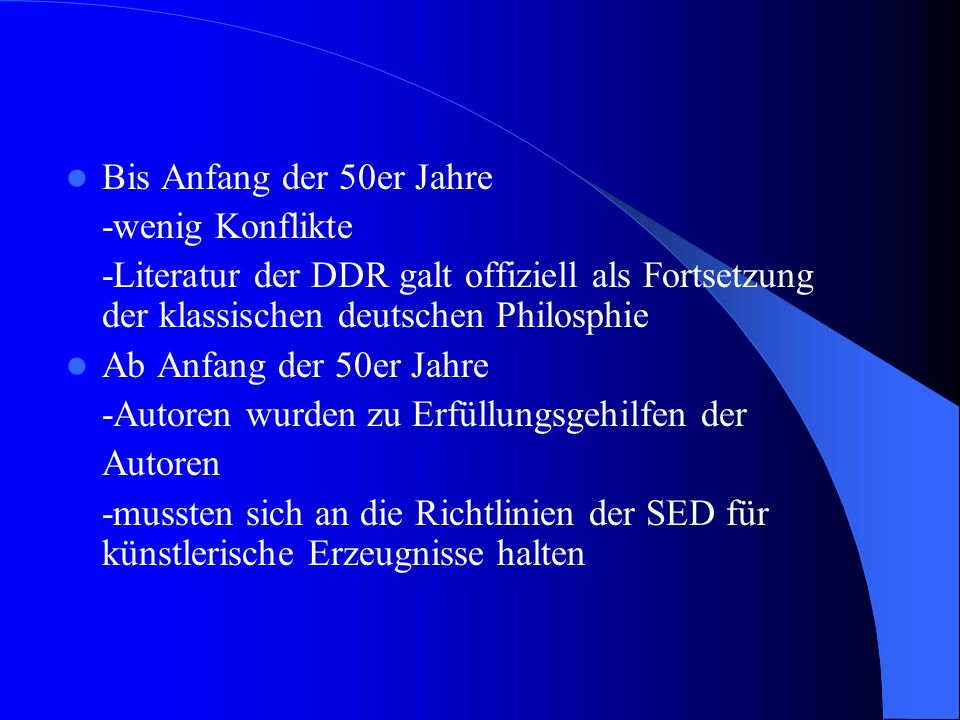 Lyrik und Lyriker in der DDR Niederlassung vieler Autoren nach 1945 in der DDR Gründe: Sahen Faschismus im Westen nicht ganz ausgerottet Bsp.: Bertolt