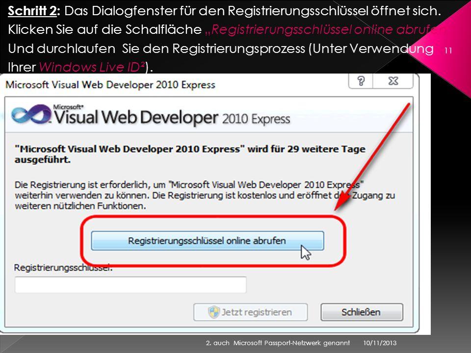 Schritt 2: Das Dialogfenster für den Registrierungsschlüssel öffnet sich. Klicken Sie auf die Schalfläche Registrierungsschlüssel online abrufen Und d