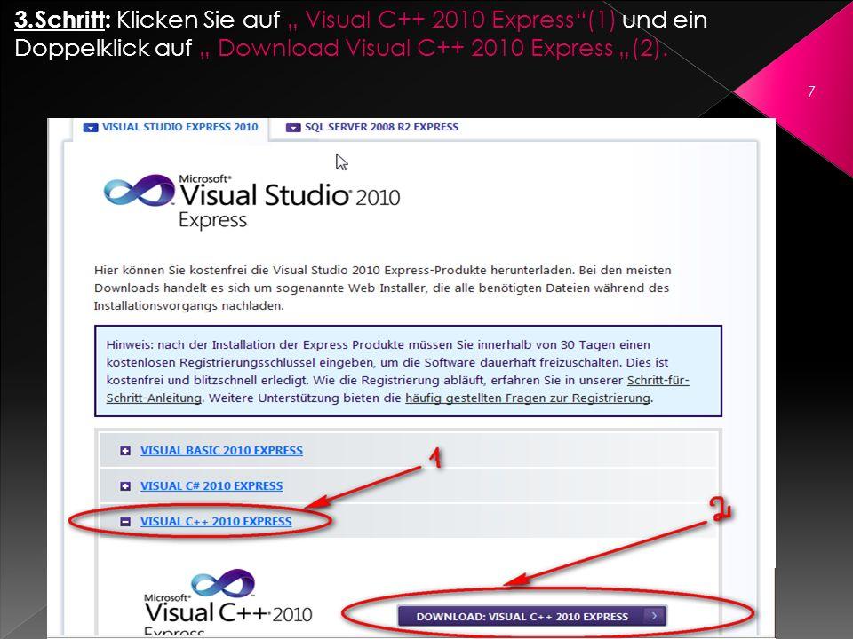 3.Schritt: Klicken Sie auf Visual C++ 2010 Express(1) und ein Doppelklick auf Download Visual C++ 2010 Express (2). 7