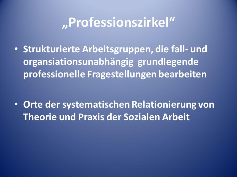Professionszirkel Strukturierte Arbeitsgruppen, die fall- und organsiationsunabhängig grundlegende professionelle Fragestellungen bearbeiten Orte der