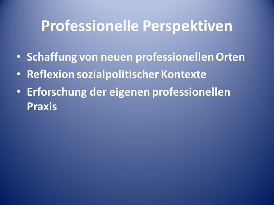 Professionelle Perspektiven Schaffung von neuen professionellen Orten Reflexion sozialpolitischer Kontexte Erforschung der eigenen professionellen Pra