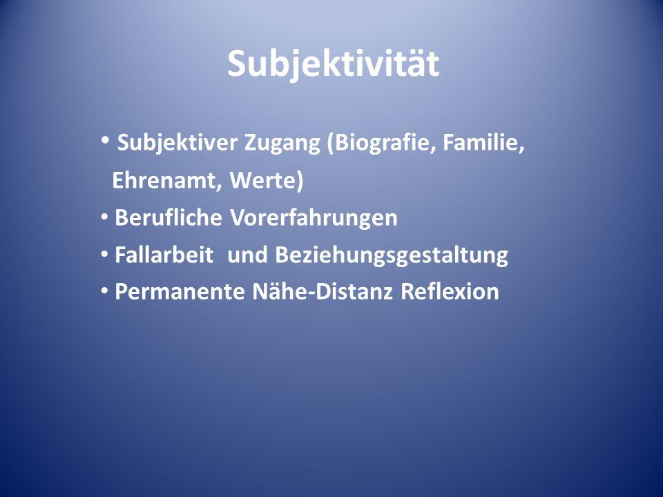 Subjektivität Subjektiver Zugang (Biografie, Familie, Ehrenamt, Werte) Berufliche Vorerfahrungen Fallarbeit und Beziehungsgestaltung Permanente Nähe-D