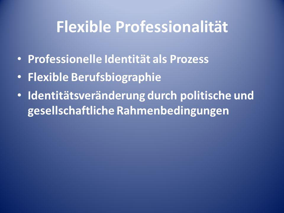 Flexible Professionalität Professionelle Identität als Prozess Flexible Berufsbiographie Identitätsveränderung durch politische und gesellschaftliche