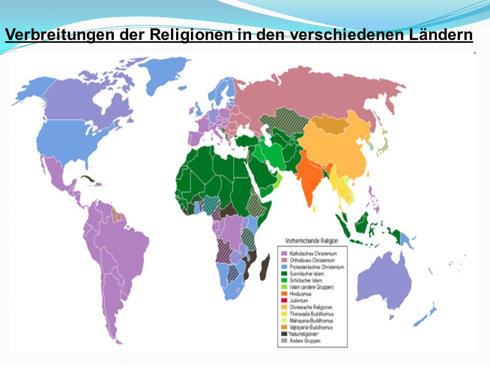 Verbreitungen der Religionen in den verschiedenen Ländern