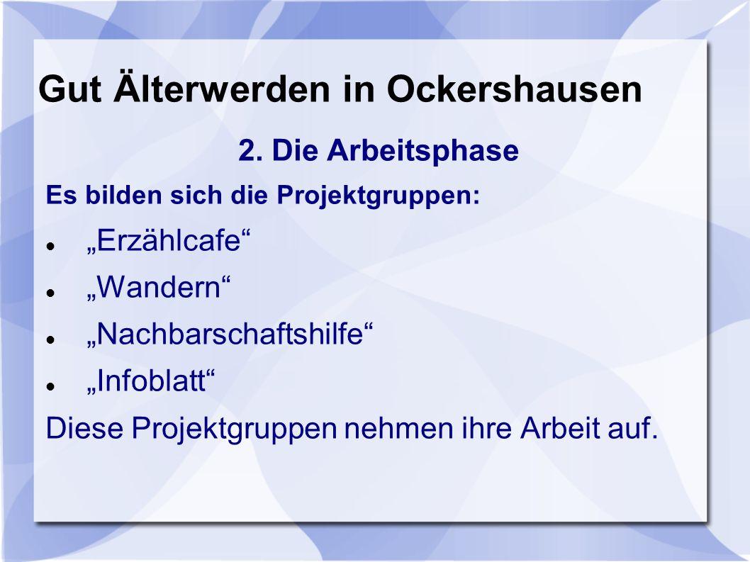 Gut Älterwerden in Ockershausen Erzählcafe Jeweils am 1.