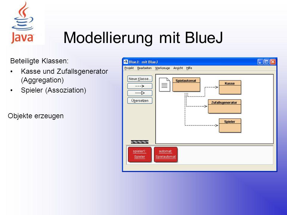 Modellierung mit BlueJ Beteiligte Klassen: Kasse und Zufallsgenerator (Aggregation) Spieler (Assoziation) Objekte erzeugen