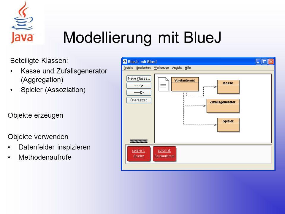 Modellierung mit BlueJ Beteiligte Klassen: Kasse und Zufallsgenerator (Aggregation) Spieler (Assoziation) Objekte verwenden Datenfelder inspizieren Me