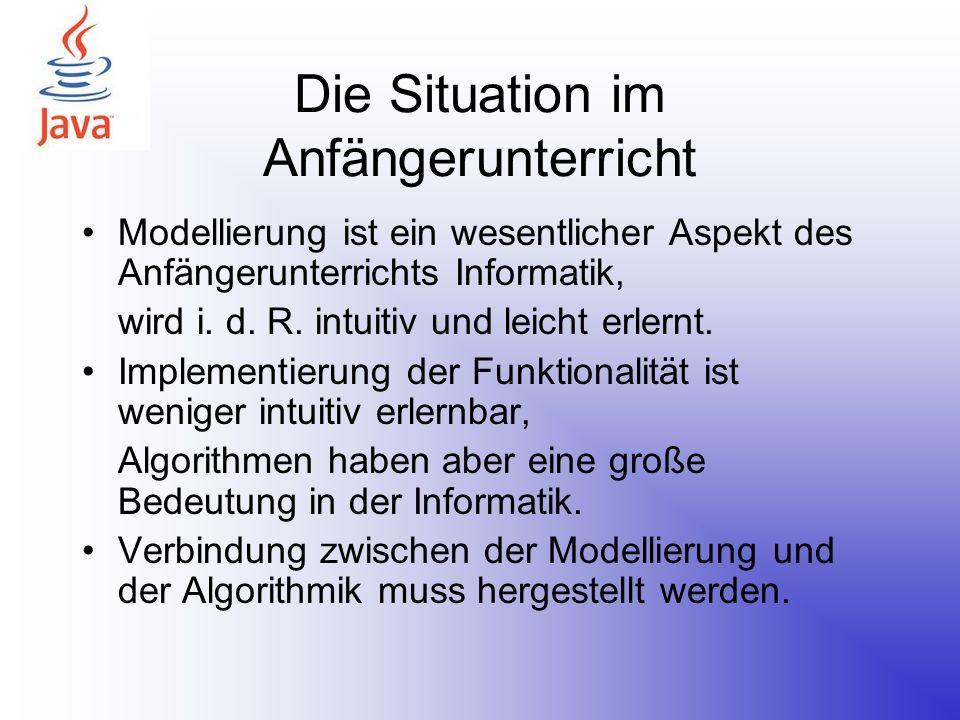 Die Situation im Anfängerunterricht Modellierung ist ein wesentlicher Aspekt des Anfängerunterrichts Informatik, wird i. d. R. intuitiv und leicht erl