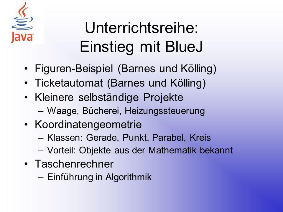 Unterrichtsreihe: Einstieg mit BlueJ Figuren-Beispiel (Barnes und Kölling) Ticketautomat (Barnes und Kölling) Kleinere selbständige Projekte –Waage, B