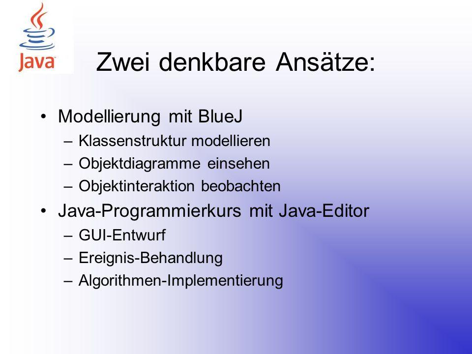 Zwei denkbare Ansätze: Modellierung mit BlueJ –Klassenstruktur modellieren –Objektdiagramme einsehen –Objektinteraktion beobachten Java-Programmierkur