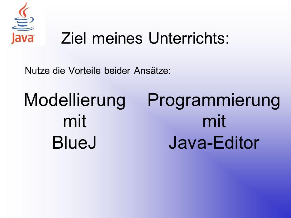 Vorteile des BlueJ nutzen Gutes Einführungsbeispiel nach Barnes und Kölling Klare Darstellung und Unterscheidung von Klassen und Objekten Leichte Erzeugung von Objekten einer Klasse Schnelle Testmöglichkeit eigener Klassen ohne GUI- Implementierung Einfache Erlernung des Aufbaus einer Klassendefinition Einfache aber ansprechende Bildschirmausgabe für Anfangsproblemstellungen